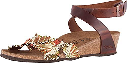 449818621d3 Image Unavailable. Image not available for. Color  Birkenstock Women s Lola  Flower Frill Brown Textile ...