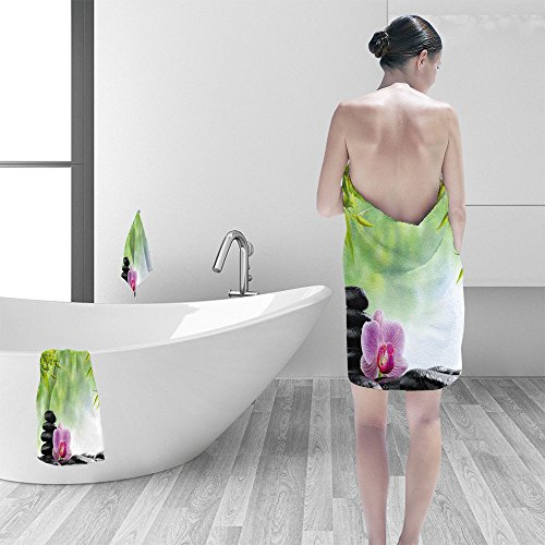 "Nalahomeqq Bath towel set spa concept zen basalt black stones and pink orchid 3D Digital Printing No Chemical OdorEco-Friendly Non Toxic13.8 x 13.8-11.8""x27.6""-27.6""x55.2"""