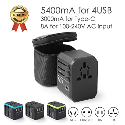 Universal Travel Adapter Ease2U International Power Adapter with 4USB Charger,1Type-C,8A Worldwide AC Outlet for Dual Voltage Curling Iron flat Iron Steamer to Italy European UK US AU Asia 200+(black) by Ease2U