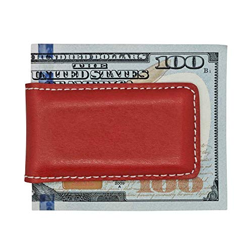 Red American Saddle Genuine Leather Magnetic Money Clip - American Factory Direct - Money Holder - Made in USA by Real Leather Creations FBA1060