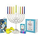 "Complete Hanukkah Menorah Set - 1 Full Size 9"" Menorah, 45 Multicolored Candles, 4 Multicolored Painted Wood Dreidels, 10 Chocolate Belgian Coins Gelt, 12 Full Color Page Comprehensive Chanukah Guide"