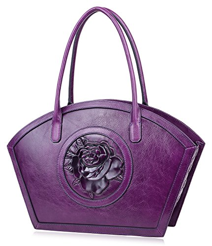PIJUSHI Women Designer Shoulder Handbag Floral Leather Tote Purses 17020(One Size, Violet Rose)