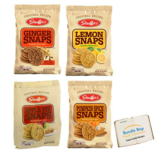 Stauffers Ginger Snaps Cookies - Lemon Snaps Cookies - Apple Pie Snaps Cookies - Pumpkin Spice Snap Cookies - Variety Pack - Includes 6 Easy Recipes To Explore by Bundle Bop (1 14oz Bag of Each)