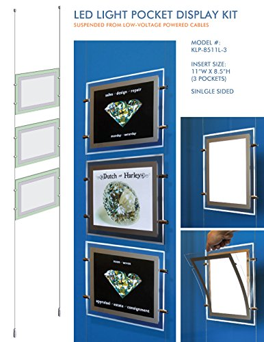 """LED Light Pocket - Cable Suspended Illuminated Poster Display Kit with 3 (three) LED Light Pockets - Single Sided (Insert Size 11""""W x 8.5""""H)"""