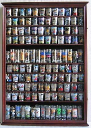 Large 144 Shot Glass Shooter Display Case Holder Wall Cabinet, UV Protection - MAHOGANY Finish