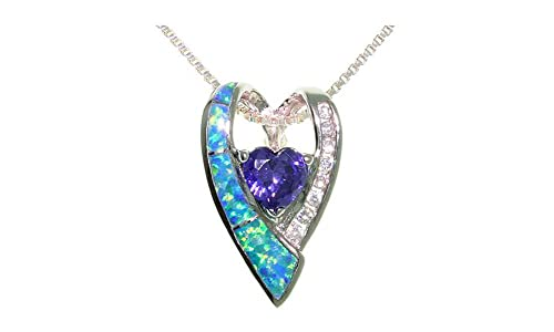 Jewelry Trends Sterling Silver Created Blue Opal Double Heart Pendant with CZ on 18 Chain Necklace