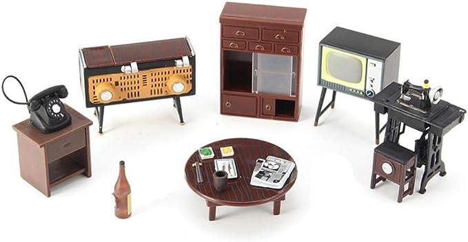 THREE 1 Juego Vintage Miniatura Casa de Muñecas Muebles Máquina de ...