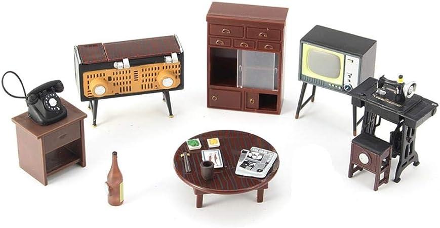 THREE 1 Juego Vintage Miniatura Casa de Muñecas Muebles Máquina de Coser Adornos de Teléfono Juguetes para la Decoración Casera Artesanía Regalos para Niños, A: Amazon.es: Hogar