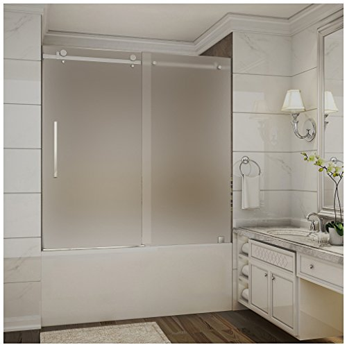 "Aston Moselle 56"" to 60"" x 60"" Completely Frameless Tub-Height Sliding Shower Door in Frosted Glass, Polished Chrome"
