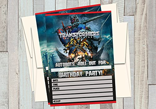 12 TRANSFORMERS - THE LAST KNIGHT - Birthday Invitations (12 5x7in Cards, 12 matching white - Card Transformers Birthday
