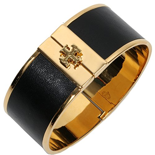 - Tory Burch Skinny Leather Inlay Cuff Metal Bracelet TB Logo (Black 1'')