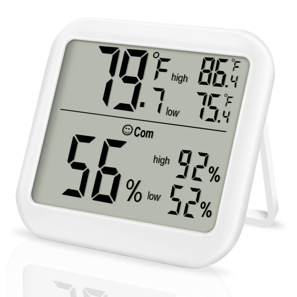 Indoor Thermometer LCD Digital Hygrometer - Enterin Room Humidity Gauge Temperature Sensor Thermometer Indicator, Min/Max Records, Temperature Humidity Monitor for Home, Office, Greenhouse, Mini Hygrometer ect