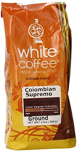 White Coffee Ground Coffee, Colombian Supremo, 12 Ounce