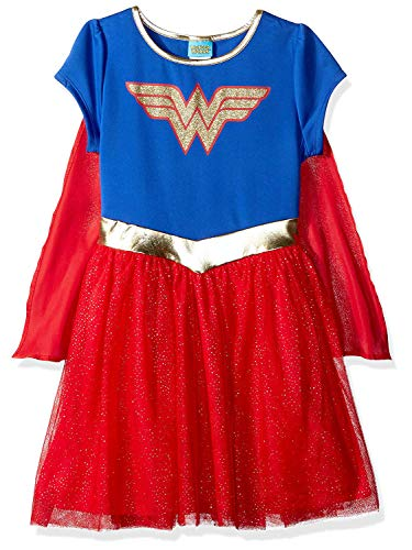 DC Comics Girls Costume Dress Cape Sparkle Tulle Skirt (Wonder Woman, 2T) -
