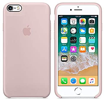 Funda Silicona para iPhone 6 y 6s Silicone Case, Textura Suave, Forro Microfibra (Rosa-Arena)