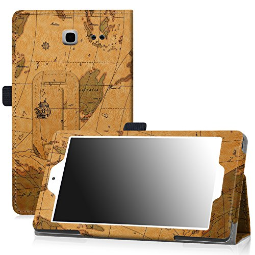 Famavala PU Leather Case Cover For 7-inch Alcatel Onetouch POP 7 LTE (2016 T-Mobile Model 9015W ) Tablet (MapBrown)