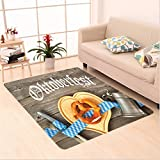 Nalahome Custom carpet lection Oktoberfest Beer Festival Cutlery Ribbon and Cutting Board on Restaurant Table Blue Gray area rugs for Living Dining Room Bedroom Hallway Office Carpet (36''x60'')