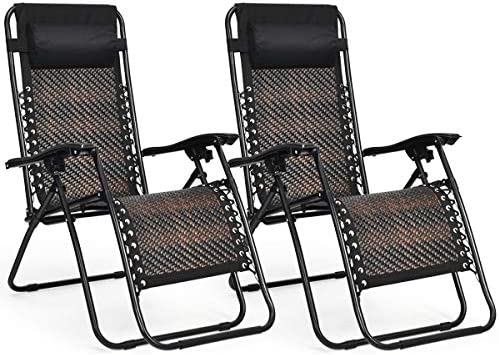 Tangkula Patio Rattan Zero Gravity Lounge Chair