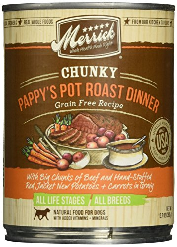 Merrick Chunky Grain Free Pappy's Pot Roast Dinner Canned Dog Food