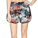 XULANG Women's Abstract Floral Prints Light Swimming Trunks Surf Swimming Cool Boardshorts