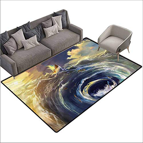 (Bathroom Rug Kitchen Carpet Nautical,Ship Whirlpool Maelstrom 60