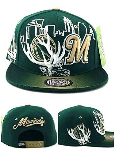 online retailer 1bd60 d2d9b Milwaukee New Leader Antlers Skyline Bucks Colors Green Era Snapback Hat Cap