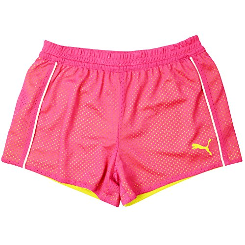 PUMA Little Girls' Active Double Mesh Short, Pink Glo, 5 - Girls Little Girl