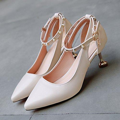con Zapatos blanco Singles Puntos Mujer Qiqi Xue Femeninos Zapatos M Zapatos ranurada Finos Amarre de Sandalias de con Zapatos AUxYqwtE
