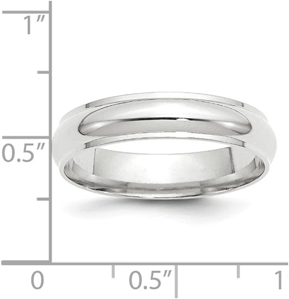 10k White Gold 5mm Half Round with Edge Band Size 5 Fine Jewelry Ideal Gifts For Women