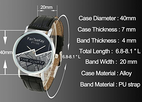Top Plaza Unisex Simple Casual Silver Tone Analog Watch Geometric Pattern No Number Dial PU Leather Strap Quartz Watch(Pack of 3) by Top Plaza (Image #3)