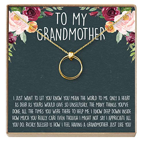 Dear Ava Grandmother Gift Necklace: New Grandmother, Grandmother to Be, 2 Linked Circles (Gold-Plated-Brass, NA)