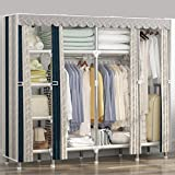 LaaLaa Home finishing decoration Portable Extra Strong and Durable Portable Wardrobe Storage Detachable and Steel Pipe Lightweight Clothing ClosetCoversize:210cm170cm45cm,D
