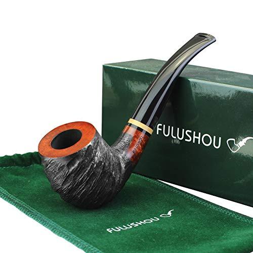 FULUSHOU Mediterranean Briar Wood Tobacco Pipe, Simple Atmosphere Tobacco Pipe - Carved Pipe