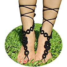 AlexStudio Ornate Wedding Bridal Knit Foot Chain Yoga Barefoot Sandals Beach Foot Jewelry Shoes
