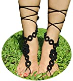 AlexStudio Ornate Wedding Bridal Knit Anklet Foot Chain Yoga Barefoot Sandals Beach Pool Nude Foot Jewelry Shoes (Black)