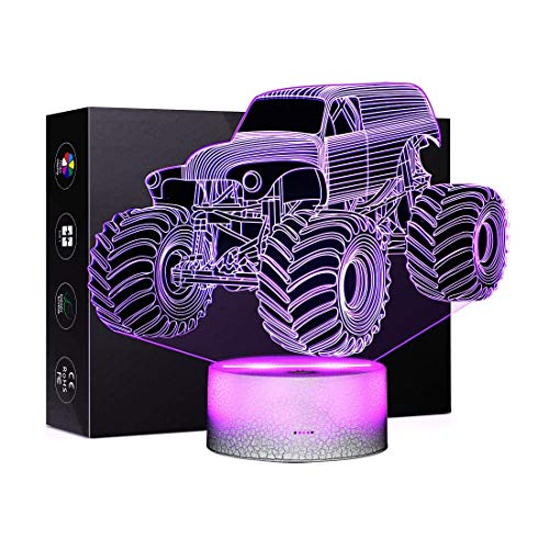 Monster truck illusions Car 3D Night Light Touch Table Desk Lamps 7 Color Liangting with Optical Illusion Acrylic Flat Graphics Truck Lamp Theme Decoration and Kiddie Kids Children Family Holiday Gift