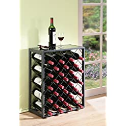 Home Bar Cabinetry Mango Steam 32 Bottle Wine Rack with Glass Table Top, Pewter home bar cabinetry
