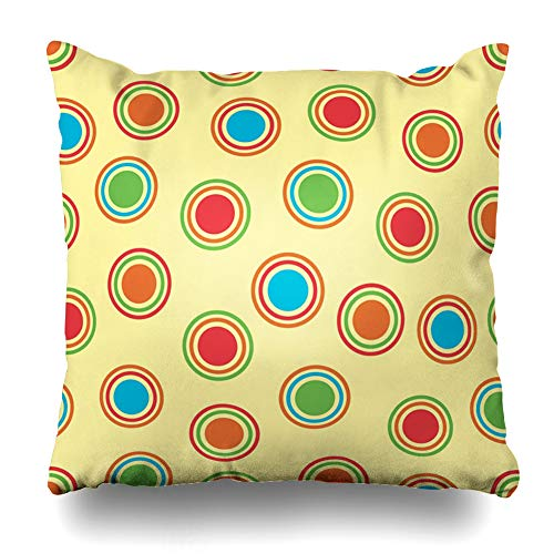 Ahawoso Throw Pillow Cover Blue Abstract Polka Dots Pattern Bright Colors Circle in Aqua Ball Ring Shape Design Home Decor Cushion Case Square Size 18 x 18 Inches Zippered Pillowcase