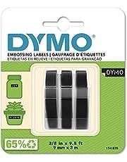 DYMO S0847730 Självhäftande präglade Vinyletiketter, 9 mm x 3 m, Vit på Svart tryck, Förpackning med 3
