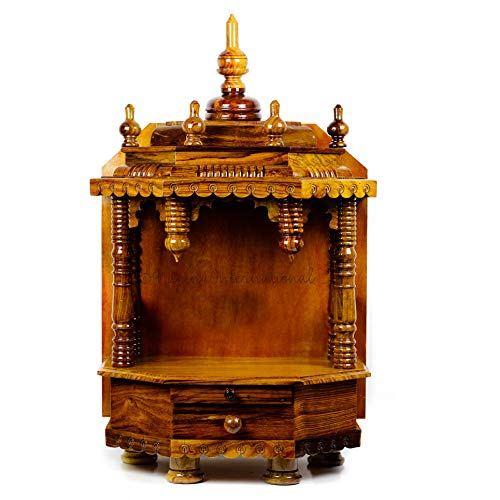 Nagina International Premium Hand Made Wooden Temple | Wooden Indian Mandir | Sheesham Wooden Madir (Rosewood) (Best Hindu Temples In Usa)