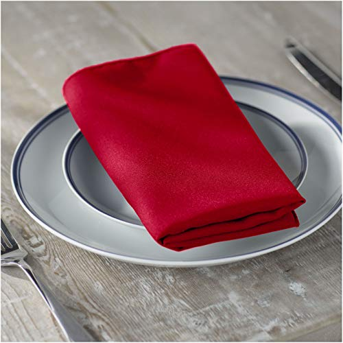 LA Linen 10-Pack Polyester Poplin Napkins, 18 by 18-Inch, Red (Christmas Napkins Red)