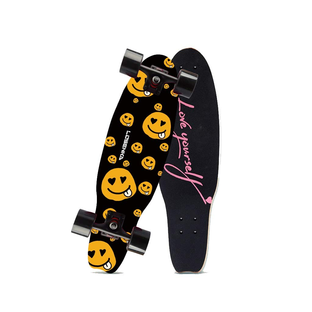 HXGL-Skateboards Small Fish Plate Brush Street Professional Skateboard Board Travel Youth Children Adult Boys and Girls Big Fish Board - Smiley Face (Size : L)