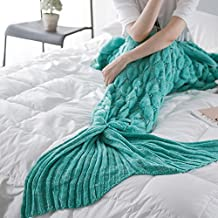 Mermaid Tail Blanket Knitted Crochet Soft Sleeping Bags, for Adult and Kids (Mint green)