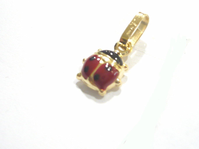 Pegaso Gioielli Pendentif Or jaune 18/carats Petite coccinelle /Émail rouge Pendentif Charms