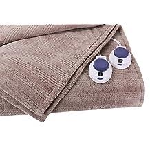 Soft Heat Ultra Micro-Plush Low-Voltage Electric Heated Triple-Rib King Size Blanket, Beige
