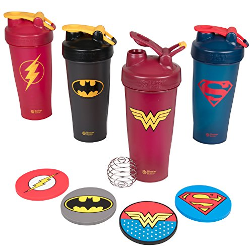 (Blender Bottle DC Comics Set of Four 28 oz Bottles with Justice League Superheros - Superman, Wonder Woman, Batman, Flash - Classic Bottle with Loop and Blenderball - High Quality Coasters Included)