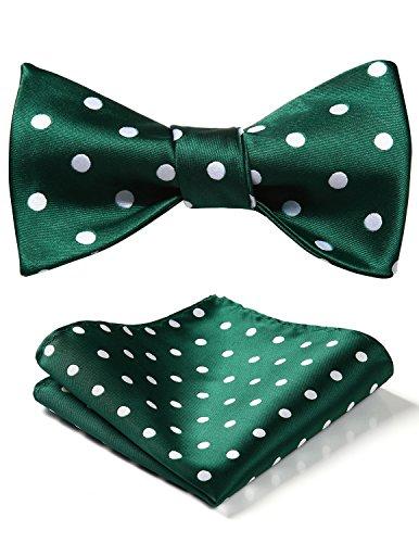 HISDERN Men's Polka Dot Wedding Party Self Bow Tie Pocket Square Set,Green / White,One Size (Green And White Polka Dot Bow Tie)