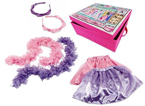 Kidoozie Dress Up Duet 7 Piece Costume Trunk - Double The Girly Fun with 2 Skirts, 2 Headbands & 2 Feathered Boas In Pink & Purple
