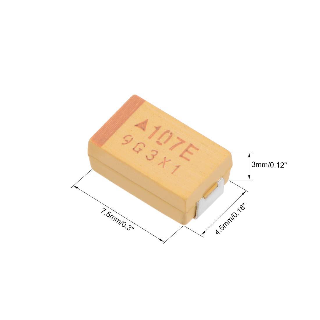 25V 7343D 10/% Tolerance 7.5X4.5X3mm 10pcs uxcell 100uF Chip SMD Tantalum Capacitor