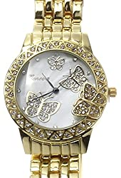 Geneva Butterfly Womens Rhinestone Mother of Pearl Stainless Steel Watch (Gold)